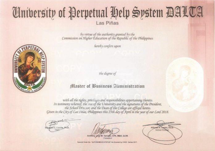 菲律宾学位班 永恒大学学位班 菲律宾MBA 菲律宾DBA